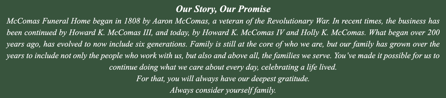 McComas Family Funeral Homes | Abingdon, Bel Air